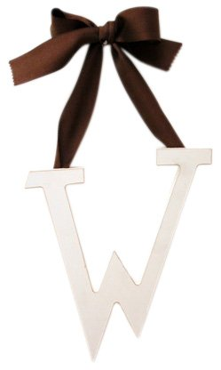 New Arrivals Wooden Letter W with Solid Brown Ribbon, Cream