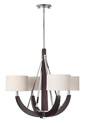 Contempo 4-Light Wood & Metal Chandelier with Cylindrical Lamp Shades