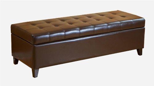 BEST Mission Brown Tufted Leather Storage Ottoman Bench