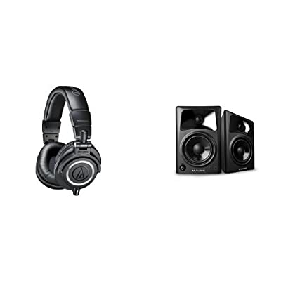Audio-Technica ATH-M50x Professional Studio Monitor Headphones Bundle with M-Audio AV42 Professional Studio Monitor Speakers (Pair)