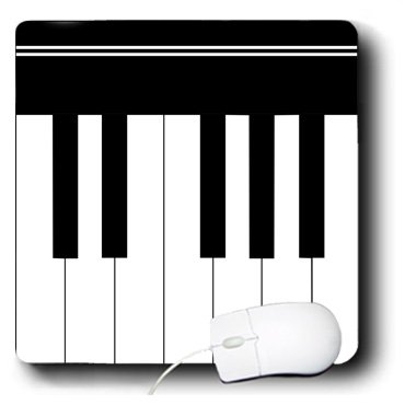 3Drose Llc 8 X 8 X 0.25 Inches Mouse Pad, Piano Keys Black And White Keyboard Musical Design Pianist Music Player And Musician Gifts (Mp_112827_1)