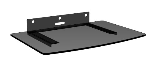 Mount World 1444 Compact Glass Component Single Shelf for DVD Player, Blu-ray Player, Cable Box, Satellite, Wii and Video Accessories (14.17″ Wide X 9.84″ Deep X 1″ Height)