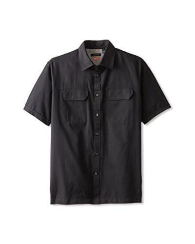 Van Heusen Men's Short Sleeve Textured Solid Traveler  [Black]