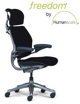 Humanscale Freedom Task Chair, Graphite Frame, Headrest, Standard Gel Armrests, Standard Seat, Standard Height, Wave Black Fabric
