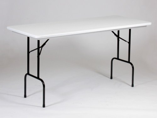 "Lightweight Standing Height Plastic Folding Table 30"" x 72"" Gray Granite Top Edge/Black Legs"