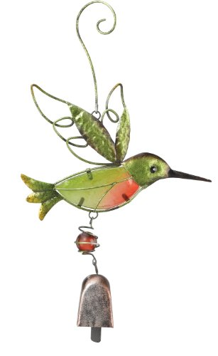 Metal & Glass Hummingbird Ornament with Bell