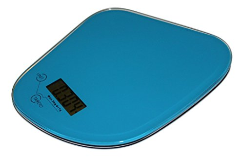 Digital Kitchen Scales (Blue) By Sdm, With Stylish Tempered Glass Top - Easy To Clean Hygienic. Best Quality Electronic Accessory For Accurate And Precision Weighing. Compact Large Lcd Durable. Best Wedding Christmas Or Birthday Present Or Gift