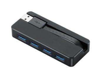ELECOM USBハブ 超高速USB3.0対応 ケーブル収納 バスパワー 4ポート 7㎝ ブラック U3H-K402BBK
