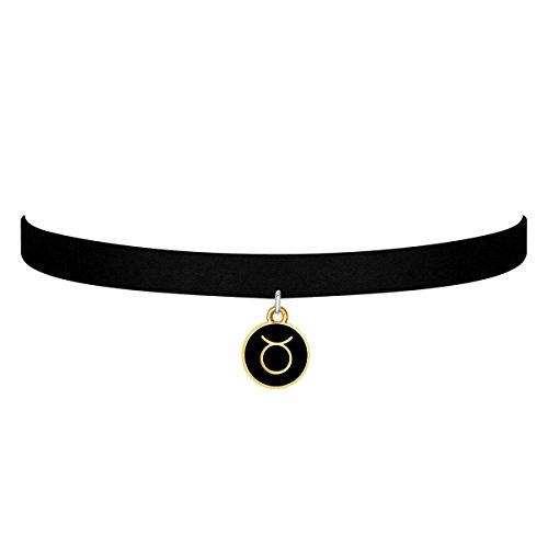 black-velvet-choker-necklace-gothic-with-gold-taurus-pendant-3-8-inch-for-girls-women-gold-taurus