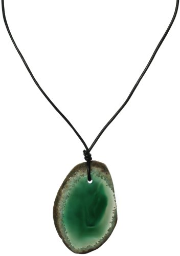 Green Agate Pendant on Leather Cord, 18