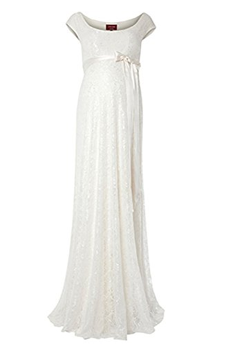 Femicuty Soft Lace Pregnant Maternity Bridal Gown Long Custom Size (Ivory)