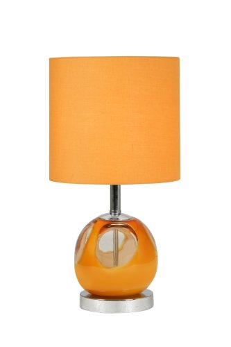 Oaks Lighting Pair of Satori Glass Table Lamp with Matching Lampshades, Pack of 2, Orange