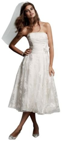 Short Printed Organza Wedding Dress With Floral Sash Soft White, 0 front-1054683