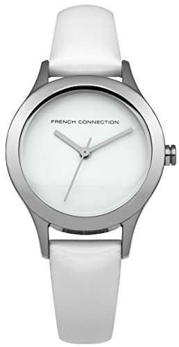 French Connection FC1206W - Reloj para mujeres, correa de cuero color blanco