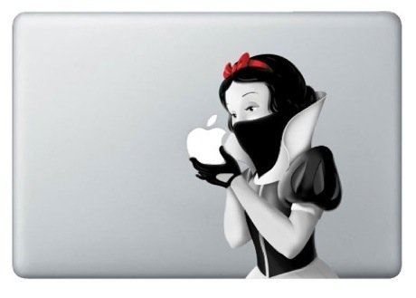 13インチ対応 mac book アートステッカー 白雪姫 モノクロ