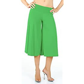 Stretch Gaucho Pants with Banded Waist from Hot Fash Shorts - SALEEN Green