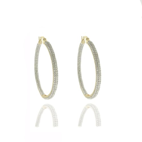 18k Gold Overlay Diamond Accent Hoop Earrings