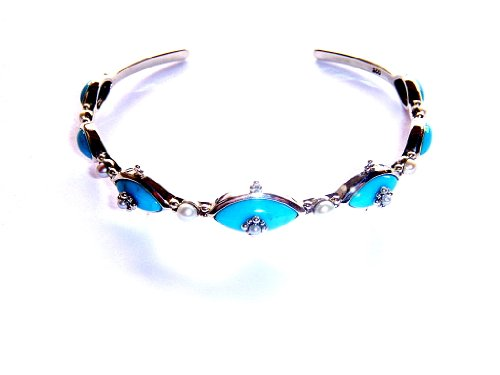 Art Deco Sterling Cuff Bracelet with Turquoise