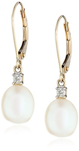 10K Yellow Gold Freshwater Cultured Pearl With Diamond-Accented Drop Earrings (10.5-11 Mm)
