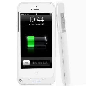 ZuZo Powerbank iPhone 5 Rechargeable External Battery Full Protective Case with Apple new 8 Pin Lightning Charging Connectors - AT&T, Sprint, Verizon (White)