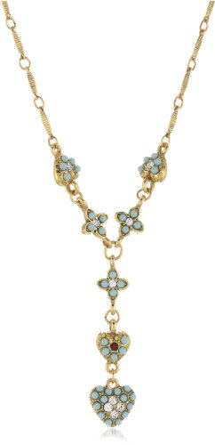 Antiquities Couture Vintage-Inspired Couture Gold-Tone and Turquoise Colored Y-Necklace