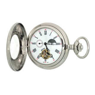 Mount Royal - 24 Hour Moondial Chrome Plated Half Hunter Mechanical Pocket Watch - B31C - (WW1711) - 4.4cm diameter x 0.9cm depth