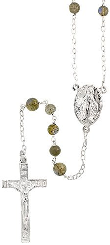 Sterling Silver 30 inch Rosary, w/ 6mm Natural Labradorite Beads, Blessed Virgin Mary  &  Sacred Heart of Jesus Rosary Center