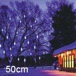 Led Meteor Shower Rain Tube Lights Outdoor Tree Decoration 8X 50Cm Poles - White