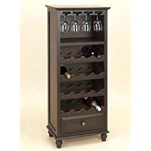 Wood espresso wine rack with drawer holds glasses and 16 for 16 bottle wine cabinet with glass door espresso