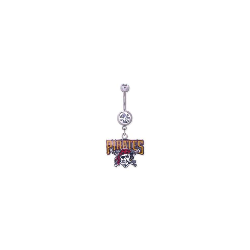 Pittsburgh Pirates 316L Stainless Steel Belly Ring with Cubic Zirconia   14G 5/8 Inch Bar Length   Sold Individually