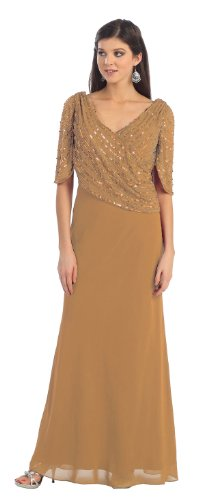 Mother of the Bride Formal Evening Dress #996 (3XL, Gold)