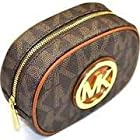 Michael Kors Fulton MK Signature PVC Cosmetic Case Brown