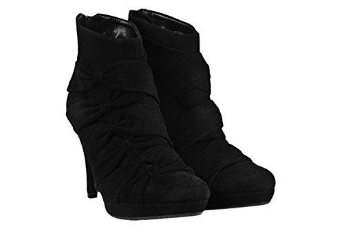 Particolare Tronchetto ALBANO scarpe donna N36 nero 2391 camoscio zip retro X219
