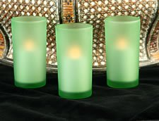 Battery Operated Green Round Glass Votive (Set Of 3) - Candle Impressions