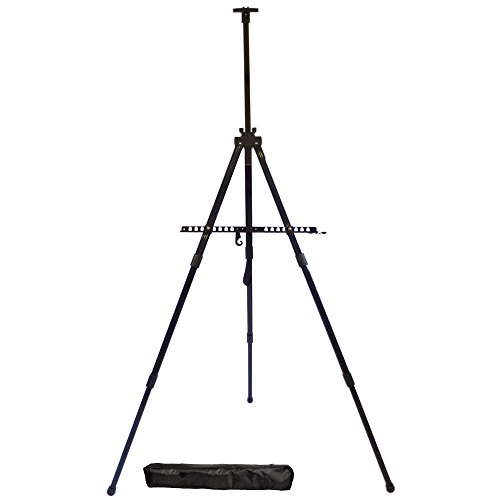 Easel, Berland Black Aluminum 71 Inches Tall, Portable, Lightweight and Sturdy Telescoping Tripod for Tabletop or Floor – Perfect for Field, Display and Presentation – Includes Carry Bag