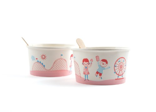 Party Partners Design Vintage Style Ice Cream Cups with Wooden Spoons, Red/Blue, 12 Count