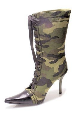 4.5 inch Heel Knee High Green Camo Boot Women's Size Shoe With Stiletto Heel and Contrasting Pointy Toe