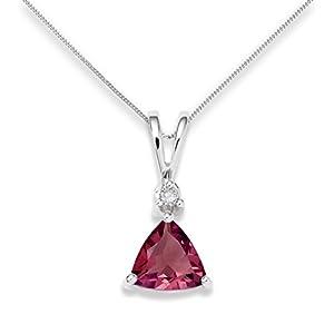 Miore - USP002P7W - Collier - Femme - Or blanc 375/1000 (9 carats) 1.16 gr - Grenat et diamant