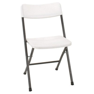 Cosco Resin Folding Chair With Molded Seat And Back White Speckle, 4-Pack front-1038306