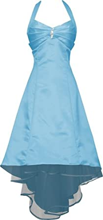 Satin Halter Dress Prom Bridesmaid Holiday Junior Plus Size, XS, Aqua
