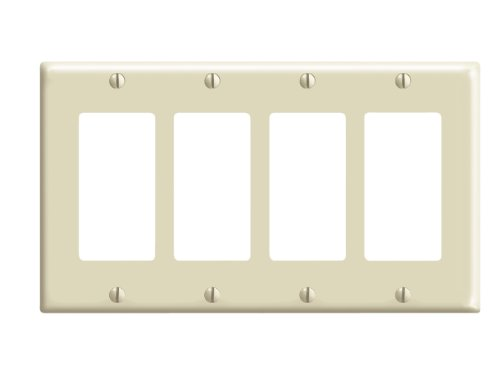 Leviton 80412-I Decora Wall Plates Quadruple Gang - Ivory
