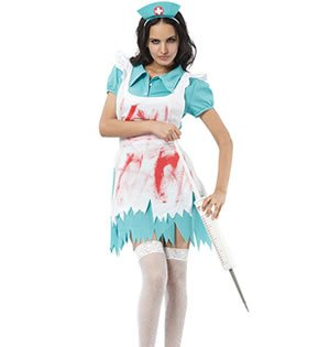 BLOOD SPLATTERED NURSE HALLOWEEN COSTUME (Size 10-12)
