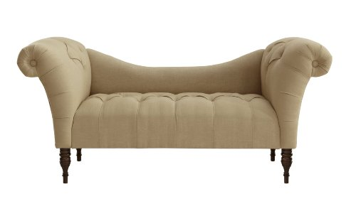 Skyline Furniture Tufted Chaise Lounge in Linen
