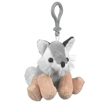 Wolf Stuffed Grey Wolf Clip Toy Keychain By Wild Life Artist front-965985