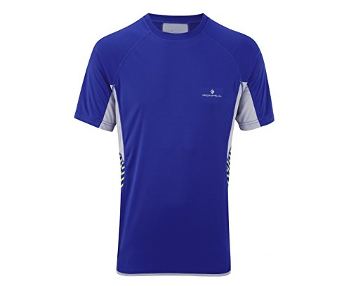 RONHILL Advance Men's Short Sleeve Crew, Blue/Grey, M