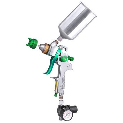Professional Gravity Feed HVLP Spray Gun Auto Paint Sprayer Silver Green w/ 2.5mm Fluid Tip & Regulator Gauge Stainless Steel Cup Needle Nozzle 90 PSI 1L for Surface Coat Primer Metal Flake Body (Green Primer Car Paint compare prices)