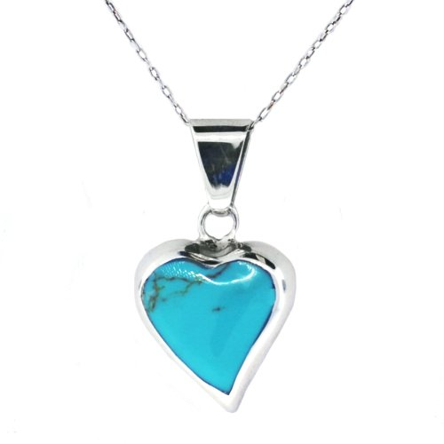 Sterling Silver Turquoise Inlay Heart Pendant