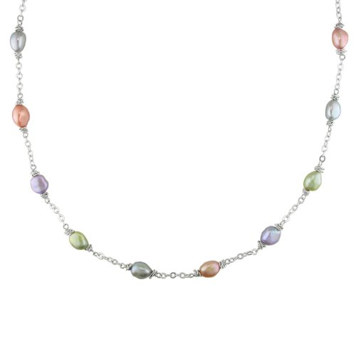 Silvertone Freshwater Multi-colored Pearl Chain Necklace (8-9 mm)