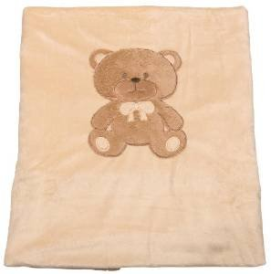 Big Oshi Ultra Soft Plush Baby Blanket With Cozy Teddy Bear Patch - Beige - A Must Have Newborn Basic For Every Baby! - 1