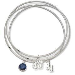 Jimmie Johnson #48 Triple Nascar Bangle Bracelet Set W/ Blue Crystal Size: 7